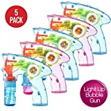 Prextex Pack of 5 Wind up Bubble Gun Shooter LED Light up Bubble Blower Indoor and Outdoor Toys for Puppy's Kid's Boys and Girls no Batteries Needed