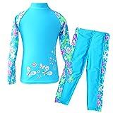 TFJH E Girls Swimsuit UPF 50+ UV Two-Piece Rash Guard Suits Blue Long 6-7 Years 8A