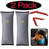 Car Seatbelt Pillow for Kids Travel, Car Neck Support, Washable Material 2-Pack