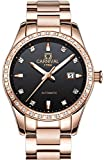 PASOY Women Elegant Automatic Rose Gold Watch black Dial Sapphire Crystal Date Mechanical Analog Watches (black)