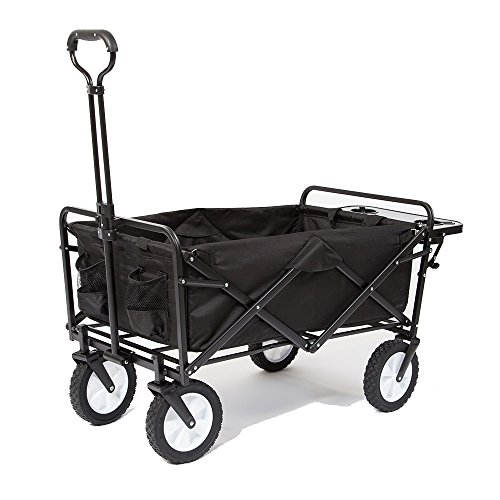 Mac Sports Collapsible Folding Outdoor Utility Wagon with Side Table - Black