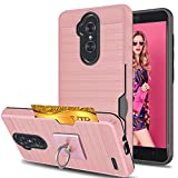 ZTE Imperial Max Z963U/ZMAX Pro Z981/Kirk Z988/Grand X Max 2/Max Duo LTE Case With Phone Stand,Ymhxcy [Credit Card Slots Holder] Dual Full-Body Shockproof Protective Cover Shell For Z981-LCK Rose Gold