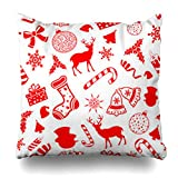 Decor Champ Throw Pillow Covers Deer Pattern Christmas Holidays Bell Tree Santa Winter Berry Snowman Home Decor Sofa Pillowcase Square Size 16 x 16 Inches Cushion Case