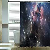Shower Curtain with Hooks,Giant-Nebula-in-Vivid-Colors-Space-Motion-Supernova-Futuristic,72x78.7inch,for Any Bathtub,Light-Pink-Blue-Black