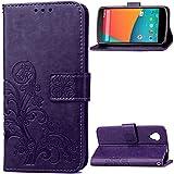 Nexus 5 Case,Gift_Source [Card Slot] [Kickstand Feature] Premium Vintage Emboss Flower PU Leather Wallet Case Folio Flip Case with Wrist Strap for LG Google Nexus 5 [Purple]