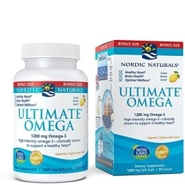 Nordic Naturals Ultimate Omega SoftGels – Most Popular Omega-3 Supplement, Concentrated Fish Oil With More DHA and EPA, Supports Heart Health, Brain Development and Overall Wellness, Lemon