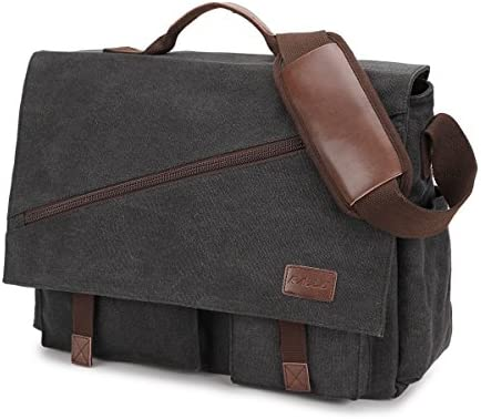 Messenger Bag for Men,Water Resistant Canvas Satchel 14 15.6 17 Inch Laptop Briefcases Business Shoulder Bookbag by RAVUO