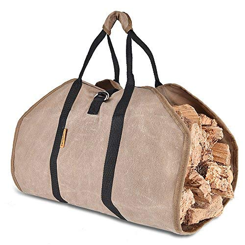 CONVELIFE Waxed Canvas Firewood Log Carrier Tote Wood Carrying Bag for Woodpile Fireplace,Camp,Stove,Cabin Heavy Duty Handle,Washed,Resistance Soiling Outdoor Indoor