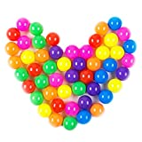 Dadoudou Pit Balls, Colorful Fun Phthalate Free BPA Free Crush Proof Balls Soft Plastic Air-Filled Ocean Ball Playballs for Baby Kids Tent Swim Toys Ball Pack of 50