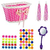 Bikes On Hikes Girl's Bicycle Decorations Set - Fun Bicycle Decor w/ Beads, Rear View Mirror, Handlebar Streamers & Basket - Complete Bike Decoration Kit For Kids
