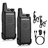 BAOFENG GT-22 UHF Two-Way Radio, 1500mAh Battery, Handsfree Rechargeable Portable Ham Walkie Talkie, 16 CH VOX, Micro USB Charging, Earpiece, 2 Pack