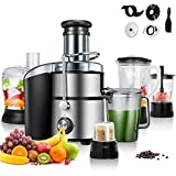 COSTWAY 5-in-1 Food Processer, Stainless Steel, 2-Speed for Fruits and Vegetable, Wide Mouth Centrifugal Juicer, Smoothie Blender, Blender, Chopper Grinder, Meat Grinder