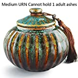 """5.2"""" Medium-Sized, Cremation Urn for Ashes - Funeral Urn for Human Ashes - Made in Ceramics & Hand-Painted- Display Burial Urn At Home or in Niche at Columbarium (Orange Blue Fambe Memorials Urn"""