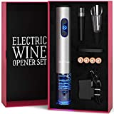 Electric Wine Opener with Charger - Wine Lover Gift Set - Holiday Birthday Wedding Kit with Batteries and Foil Cutter Uncle Viner G105