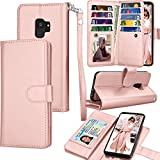 Tekcoo Compatible for Galaxy S9 Wallet Case/Samsung Galaxy S9 PU Leather Case, Luxury ID Cash Credit Card Slots Holder Carrying Folio Flip Cover [Detachable Magnetic Hard Case] Kickstand -Rose Gold