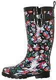 Capelli New York Ladies Shiny Bright Floral Printed Rain Boot Black Combo 6
