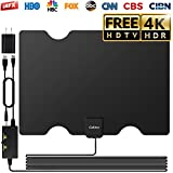2019 Newest TV Antenna Indoor, Cubitee Amplifier Signal Amplified Booster 100 Miles Range 16.4ft Coax Cable HDTV Antennas High Definition 1080P 4K Freeview Full 360° Reception with USB Power Adapter