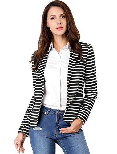 Allegra K Women's Notched Lapel Pocket Button Closure Striped Blazer 15 Fashion Online Shop gifts for her gifts for him womens full figure