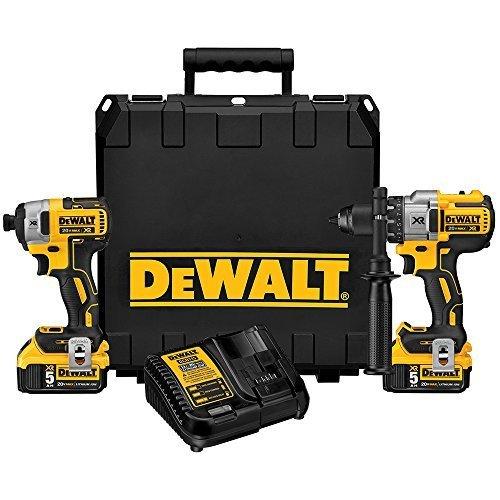 DEWALT DCK299P2 20V MAX XR 5.0Ah Premium Cordless Hammerdrill & Impact Driver Combo Kit