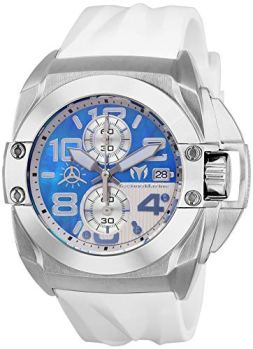 Technomarine Men's Black Reef Stainless Steel Quartz Watch with Silicone Strap, White, 27 (Model: TM-518008)