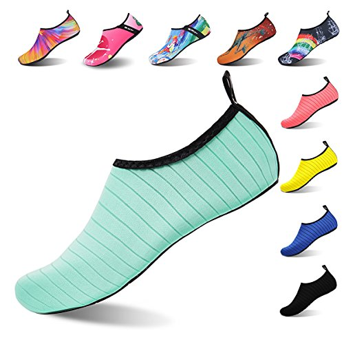 Womens and Mens Water Shoes Barefoot Quick-Dry Aqua Socks for Beach Swim Surf Yoga Exercise (TW.Green, L)