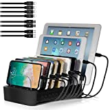 NEXGADGET USB Charging Station Dock for Multiple Devices, 8-Port Charging Stand for Smart Phone,Tablet and Other USB Devices-8' Cables Included