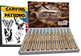 Sac Awa Wood Carving Tools Set. SK7 Carbon Steel Ergonomic 12 Piece Carving Tool Kit. Includes 1300+ Downloadable Carving Patterns.