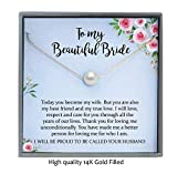 Groom to Bride Gift, Gold Filled Pearl Necklace