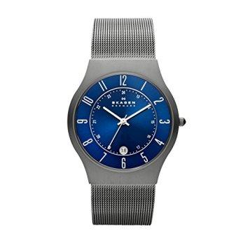 Skagen Men Sundby Quartz Titanium and Stainless Steel Mesh Casual Watch, Color: Grey (Model: 233XLTTN)