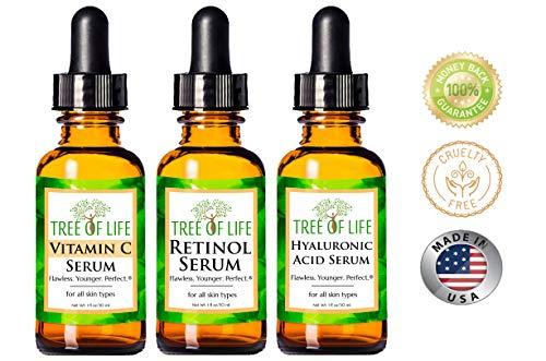 Anti Aging Serum 3-Pack for Face - Vitamin C Serum, Retinol Serum, Hyaluronic Acid Serum - Face Serum Full Regimen 4