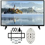LG LJ500B Series 32' Class LED HDTV 2017 Model (32LJ500B) with Deco Mount Slim Flat Wall Mount Ultimate Bundle Kit for 32-60 inch TVs & Stanley Transformer Tap USB w/6-Outlet Wall Adapter
