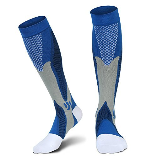 Compression Socks(20-30 mmHg) for Men Women, for Running, Pregnancy, Flight, Travel, Nursing, Boost Stamina, Speed Up Recovery, Better Blood Circulation, Blue,1 Pair (Blue S/M)