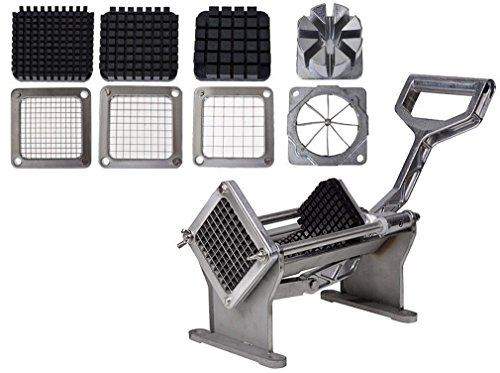 Mr.Lucas French Fry Potato Press adjustable Cutter Set Fruit Vegetable Commercial Slicer Cutting W/ 4 Blades