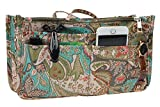 Vercord Printed Purse Handbag Tote Insert Organizer 13 Pockets with Zipper Handle Peacock Flowers Medium