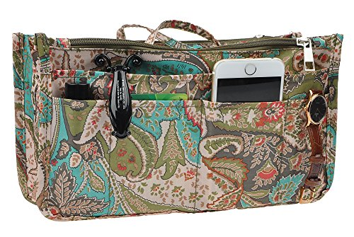 Vercord Printed Purse Handbag Tote Insert Organizer 13 Pockets With Zipper Handle Peacock Flowers Medium