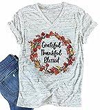 Women Grateful Thankful Blessed T-Shirt Women Floral Print Casual Short Sleeve V Neck Loose Thanksgiving Shirt Blouse Tops ... Light Gray