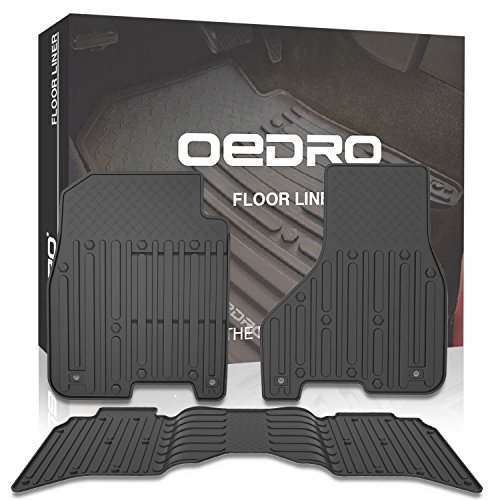 oEdRo Floor Mats Liners Compatible for 2013-2018 Dodge Ram 1500-5500 Crew Cab, Includes Front Row and Rear Floor Liner Set