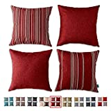 HPUK Decorative Pillow Covers, Set of 4 17 x 17, Couch Pillow Covers Throw Pillow Covers for Couch, Bedroom, Car, Holiday Decor, Red