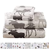 Home Fashion Designs Stratton Collection Extra Soft Printed 100% Turkish Cotton Flannel Sheet Set. Warm, Cozy, Lightweight, Luxury Winter Bed Sheets Brand. (King, Moose)