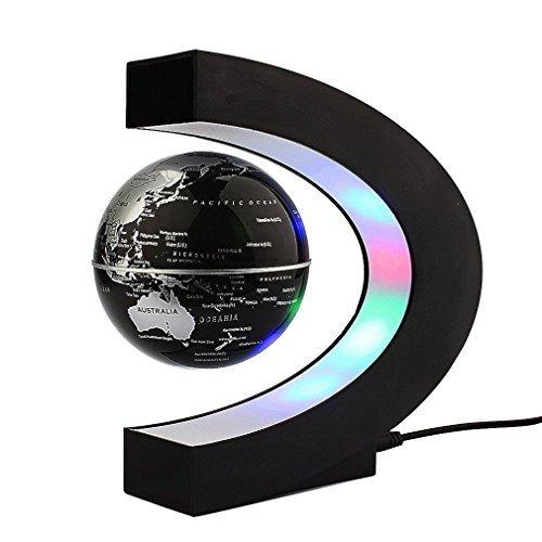 Trenzsary Floating Globe with LED Lights C Shape Magnetic Levitation Floating Globe World Map for Desk Decoration (Black)