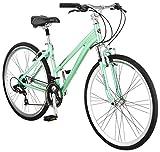 Schwinn Siro Comfort Hybrid Bicycle, Lightweight Aluminum Step-Through Frame, Front Suspension Fork, Padded Suspension Seat, 21-Speed Shimano Drivetrain, and 700c Wheels, Light Green