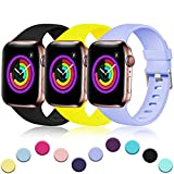 Haveda Sport Band Compatible for Apple 4 Watch 38mm 40mm, Waterproof TPU Bands Wristband for iWatch, Apple Watch Series 4, Series 3, Series 2, Series 1 Women Men, Black/Lilac/Mango 38mm/40mm M/L