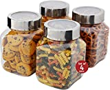Plastic Storage Jars With Lids; Milton Food Storage Containers 4 Pack 67 oz. Clear Square Lightweight PET Canisters;Wide-Mouth, Airtight Lids Caps; Large Big Clear Empty Multi-Purpose Jars BPA Free