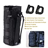 R.SASR Upgraded Sports Water Bottles Pouch Bag, Tactical Drawstring Molle Water Bottle Holder Tactical Pouches, Travel Mesh Water Bottle Bag Tactical Hydration Carrier (Black-1Pack)