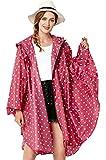 NUUR Women's Rain Poncho Jacket Waterproof Lightweight Reusable Hiking Rain Coat Jacket with Hood - Red Polka Dot