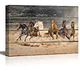 wall26 - Canvas Wall Art - Galloping Horses on Vintage Wood Textured Background - Rustic Country Style Modern Giclee Print Gallery Wrap Home Decor Ready to Hang - 16' x 24'