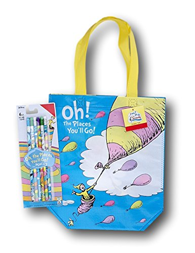 Dr. Seuss Oh the Places Youll Go School Supply Set - Tote Bag and Pencils