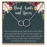 Dear Ava Aunt-Niece Necklace: Aunt-Niece Gift, Aunt-Niece Jewelry, Aunt-Niece Quotes, Aunt Necklace, 2 Asymmetrical Circles (Silver-Plated-Brass, NA)