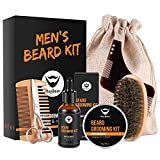 MayBeau Beard Kit for Men 8 in 1 Beard Growth Grooming & Trimming with Unscented Leave-in Conditioner Oil,Beard shaping, Beard Balm Butter Wax, Brush and Comb Ultimate Trimmer Set for Men