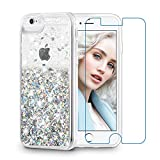 Maxdara Case for iPhone 6S/6 Glitter Case [Tempered Glass Screen Protector] Liquid Floating Bling Sparkle Luxury Shockproof Bumper Pretty Girls Children Case for iPhone 6/6s/7/8 4.7 inches (Silver)